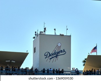 Los Angeles, USA - July 21 2018: Logo of the Los Angeles Dodgers on the wall of the Dodger Stadium