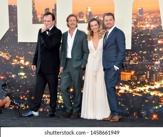 """LOS ANGELES, USA. July 23, 2019: Quentin Tarantino, Brad Pitt, Margot Robbie & Leonardo DiCaprio at the premiere of """"Once Upon A Time In Hollywood"""". Picture: Paul Smith/Featureflash"""