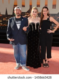 """LOS ANGELES, USA. July 23, 2019: Kevin Smith, Harley Quinn Smith & Jennifer Schwalbach Smith at the premiere of """"Once Upon A Time In Hollywood"""" at Chinese Theatre. Picture: Paul Smith/Featureflash"""