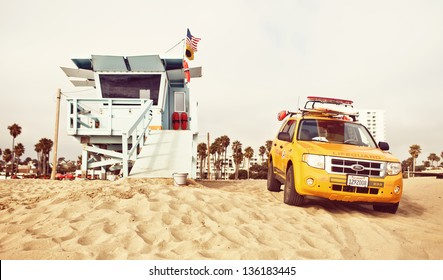 LOS ANGELES, USA - JULY 24: Lifeguard tower on Santa Monica State Beach on July 24, 2012 in Santa Monica, California. Santa Monica has 3.5 miles of well-maintained California beach locations