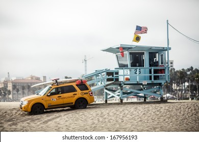 LOS ANGELES, USA - JULY 24: Lifeguard tower on Santa Monica State Beach on July 24, 2012 in Santa Monica, California. Santa Monica has 3.5 miles of well-maintained California beach locations.
