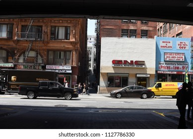 Los Angeles, USA - July 29: Unidentified random people in the streets of Downtown of Los Angeles, CA on July 29, 2018.