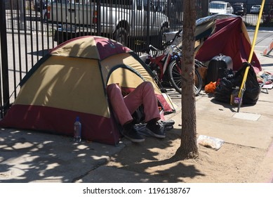 Los Angeles, USA - July 29: Homeless tents in the streets of Los Angeles, CA on July 29, 2018.