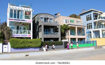 Los Angeles, USA - July 30, 2017: Ocean Front Walk of Venice Beach in Los Angeles. This boardwalk is 2.5 kilometer long