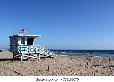 Los Angeles, USA - July 30, 2017: Lifeguard stations at famous Santa Monica beach