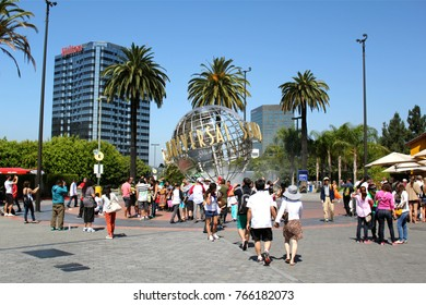 Los Angeles, USA - July 30, 2017: Universal Studios globe at the Entrance of the Universal Studios Hollywood Park. Universal Pictures company was created on June 10, 1912