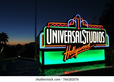 Los Angeles, USA - July 30, 2017: Universal Studios Hollywood, the fountain with Universal studios neon sign near the exit of theme park.