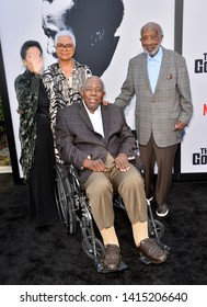 """LOS ANGELES, USA. June 04, 2019: Jacqueline Avant, Billye Aaron, Hank Aaron & Clarence Avant at the premiere for """"The Black Godfather"""" at Paramount Theatre.Picture: Paul Smith/Featureflash"""