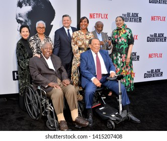 """LOS ANGELES, USA. June 04, 2019: Jacqueline Avant, Billye Aaron, Hank Aaron, Ted Sarandos, Nicole Avant & Clarence Avant at the premiere for """"The Black Godfather"""". Picture: Paul Smith/Featureflash"""
