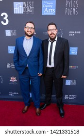 LOS ANGELES, USA - JUNE 09, 2019: Petros Antoniadis (L), Iakovos Panagopoulos attends 13th Los Angeles Greek Film Festival 2019 Closing Night on June 09, 2019 in Egyptian Theatre in Los Angeles.