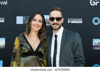 LOS ANGELES, USA - JUNE 10, 2018: Elena Bagourdi (L), Jonathan Sweet attend Los Angeles Greek Film Festival 2018 Orpheus Awards Ceremony on June 10, 2018 in Egyptian Theatre in Los Angeles.