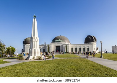 LOS ANGELES, USA - JUNE 10, 2012: people visit Griffith Park Observatory in theHollywood area. The Griffith Park Observatory is a popular destination for tourists, with millions visiting each year.