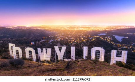 LOS ANGELES , USA - JUNE 12, 2018 - Back of the Hollywood sign at sunset