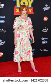 "LOS ANGELES, USA. June 12, 2019: Christina Hendricks at the world premiere of ""Toy Story 4"" at the El Capitan Theatre.