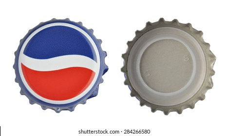 LOS ANGELES , USA - JUNE 2, 2015 Pepsi Cola Cap Isolated On White. Pepsi is a carbonated soft drink that is produced and manufactured by PepsiCo.