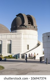 LOS ANGELES, USA - JUNE 24: Griffith observatory is open to watch the moon  on June 24, 2012 in Los Angeles, USA. People watch the moon with the  12-Inch Zeiss Refracting Telescope from 1931.