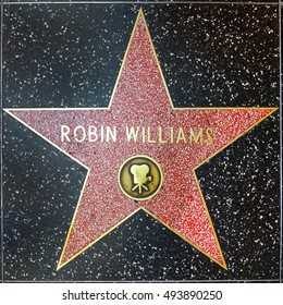 LOS ANGELES, USA - JUNE 24, 2012:  Robin Williams star on Hollywood Walk of Fame  in Hollywood, California. This star is located on Hollywood Blvd. and is one of 2400 celebrity stars.