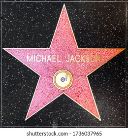 Los Angeles, USA - June  26, 2012: Michael Jackson's star on Hollywood Walk of Fame  in Hollywood, California. This star is located on Hollywood Blvd. and is one of 2400 celebrity stars.