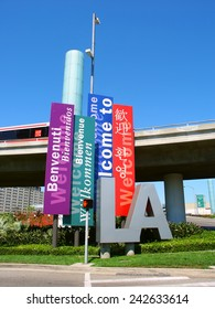 LOS ANGELES, USA - JUNE 27, 2005: Banners greeting travelers to Los Angeles in many languages outside the Los Angeles International Airport (LAX) in California.