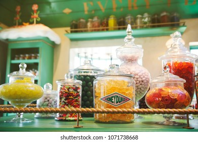 Los Angeles, USA - June 29, 2015: Assortments of HONEY DUKES store, a magic homemade sweet shop replica for visitors, located in The Wizarding World of Harry Potter, Universal Studios, Hollywood