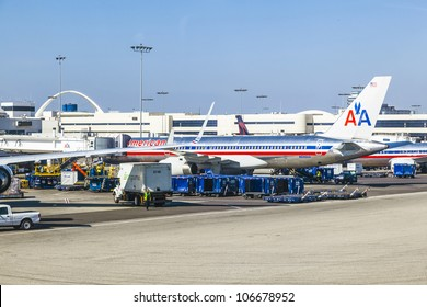 LOS ANGELES, USA - JUNE 9:  American Airlines jet Boeing 767  parking on gate position  on June 9, 2012 in Los Angeles, USA. With 60 million passenger LAX is the third biggest airport in the US.