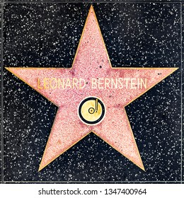 LOS ANGELES, USA - MAR 17, 2019: closeup of Star on the Hollywood Walk of Fame for Leonard Bernstein.