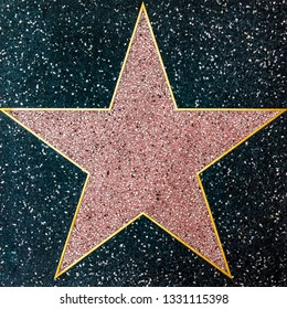 LOS ANGELES, USA - MAR 5, 2019: closeup of the empty Star on the Hollywood Walk of Fame.