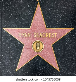 LOS ANGELES, USA - MAR 5, 2019: closeup of Star on the Hollywood Walk of Fame for ryan Seacrest.