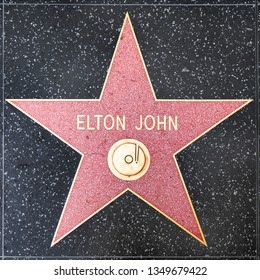 LOS ANGELES, USA - MAR 5, 2019: closeup of Star on the Hollywood Walk of Fame for Elton John.