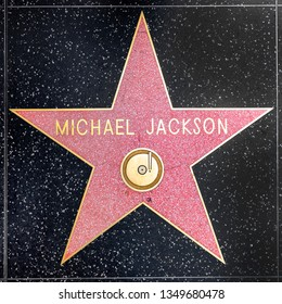 LOS ANGELES, USA - MAR 5, 2019: closeup of Star on the Hollywood Walk of Fame for michael jackson.
