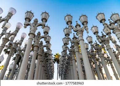 "LOS ANGELES, USA - MARCH 29, 2020: Public Art ""Urban Light"" in Los Angeles, California, USA"
