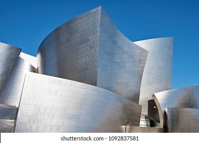 LOS ANGELES, USA - MARCH 5, 2018: Close-up view of some of the major blocks that comprise the the Disney Philharmonic Concert Hall in Los Angeles, designed by Frank Gehry.