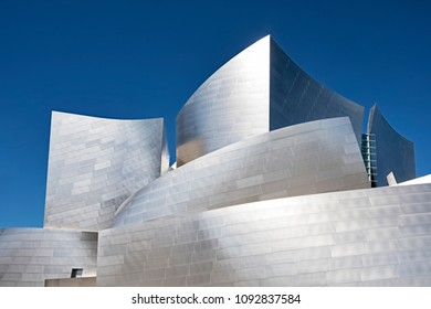 LOS ANGELES, USA - MARCH 5, 2018: The exterior metal panels of the Walt Disney Philharmonic Concert Hall in Los Angeles, designed by Frank Gehry, shimmer in the bright sunlight.