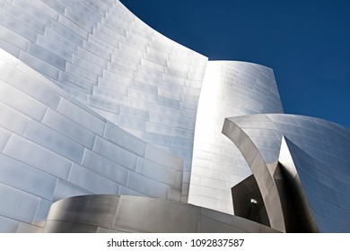 LOS ANGELES, USA - MARCH 5, 2018: Close-up view of some of the shapes and curves of the Disney Philharmonic Concert Hall in Los Angeles, designed by Frank Gehry.