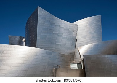 LOS ANGELES, USA - MARCH 5, 2018: A view of the landmark Walt Disney Philharmonic Concert Hall in Los Angeles, designed by Frank Gehry.