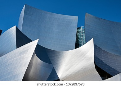 LOS ANGELES, USA - MARCH 5, 2018: The Walt Disney Philharmonic Concert Hall, designed by Frank Gehry is a modern architecture landmark in Los Angeles.