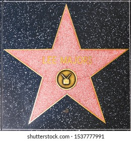 Los Angeles, USA - March 5, 2019: closeup of Star on the Hollywood Walk of Fame for  Lee Majors.