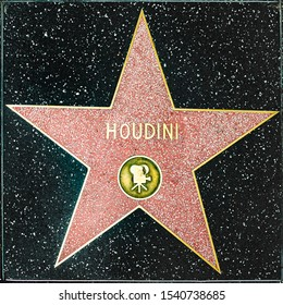 Los Angeles, USA - March 5, 2019: closeup of Star on the Hollywood Walk of Fame for  Houdini.