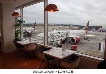 LOS ANGELES, USA – MAY 25 2018: The Virgin Atlantic Clubhouse lounge at Los Angeles International Airport welcomes the airline's business class passengers. Guests can dine here before their flight.