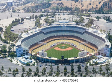 LOS ANGELES, USA - MAY 27, 2015: Aerial view of the Dodger Stadium in Elysian Park. The stadium and the stands and the parking lots around it are empty.