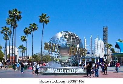 Los Angeles, U.S.A. - May 30 2011: Hollywood, people around the fountain the Universal Studios entrance