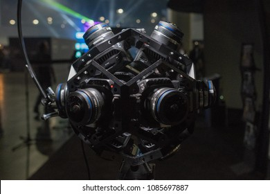 Los Angeles, USA - May 5, 2018: VR camera system on display during VRLA - virtual reality exposition, at the Los Angeles Convention Center.