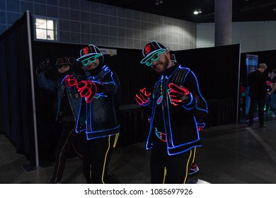 Los Angeles, USA - May 5, 2018: Light Balance dancers on display during VRLA - virtual reality exposition, at the Los Angeles Convention Center.