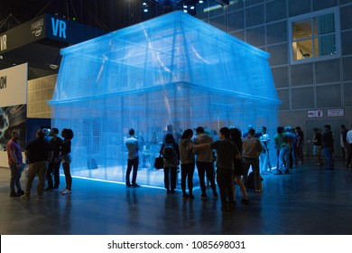 Los Angeles, USA - May 5, 2018: Immersive Experience stand during VRLA - virtual reality exposition, at the Los Angeles Convention Center.
