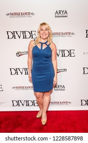 """LOS ANGELES, USA - NOVEMBER 05, 2018: Christy Lee Hughes attends Los Angeles premiere of """"The Divide"""" movie in Laemmle Ahrya Fine Arts Theater in Beverly Hills on November 5, 2018."""