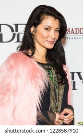 """LOS ANGELES, USA - NOVEMBER 05, 2018: Kelly Hu attends Los Angeles premiere of """"The Divide"""" movie in Laemmle Ahrya Fine Arts Theater in Beverly Hills on November 5, 2018."""