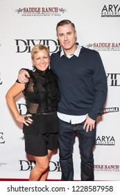 """LOS ANGELES, USA - NOVEMBER 05, 2018: Jo Haskin (L) and Kevin Haskin (R) attend Los Angeles premiere of """"The Divide"""" movie in Laemmle Ahrya Fine Arts Theater in Beverly Hills on November 5, 2018."""