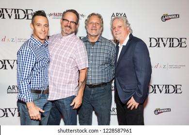 "LOS ANGELES, USA - NOVEMBER 05, 2018: Left to right: Brendan Wayne, Pete La Cava, Chris La Cava, Mark La Cava attend Los Angele premiere of ""The Divide"" movie in Beverly Hills on November 5, 2018."