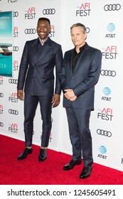"LOS ANGELES, USA - NOVEMBER 09, 2018: Mahershala Ali (L) and Viggo Mortensen (R) arrive at AFI FEST 2018 - ""Green Book""  Gala Screening on November 9, 2018 at The TCL Chinese Theater in Los Angeles."