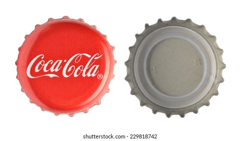 LOS ANGELES , USA - NOVEMBER 11, 2014: Coca-Cola classic cap isolated on white background. Coca-cola is the world's most selling carbonated soft drink